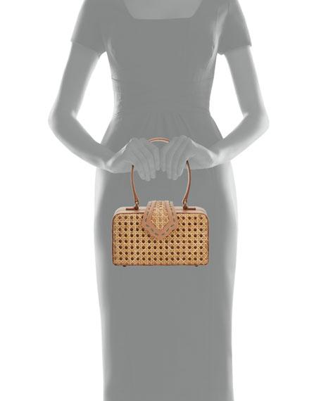 Rattan Fey Top-Handle Box Bag