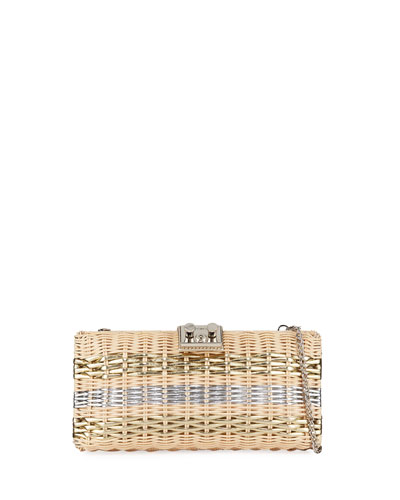 Metallic Wicker Clutch Bag