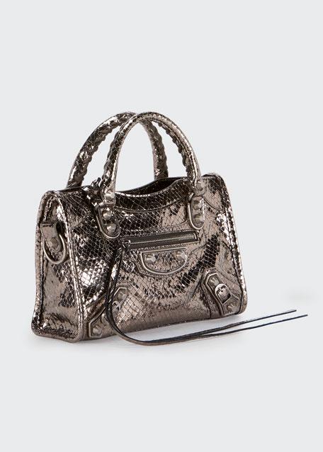 30893578baa4 Balenciaga Metallic Edge Mini City AJ Snake-Embossed Bag