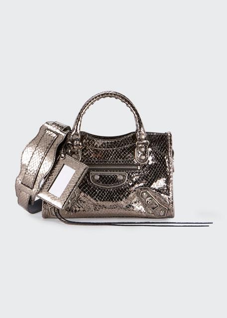 Balenciaga Metallic Edge Mini City AJ Snake-Embossed Bag