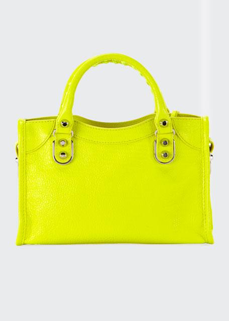 Metallic Edge Mini City AJ Shiny Leather Bag