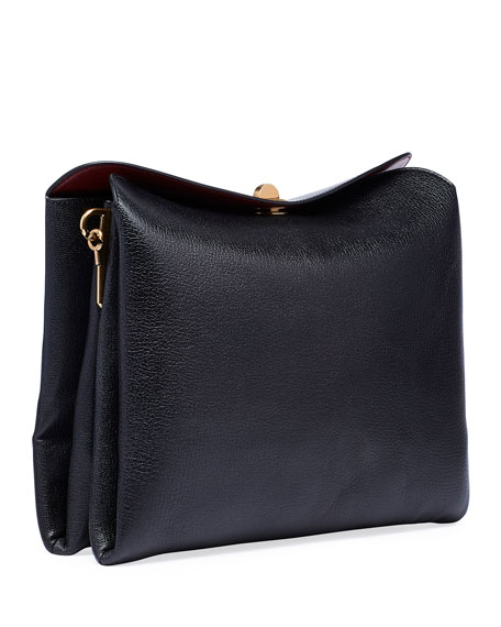 Small Shiny Leather Flap Shoulder Bag