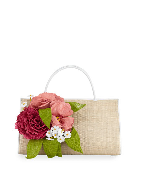 Nancy Gonzalez Wallis Floral Crocodile Top-Handle Bag