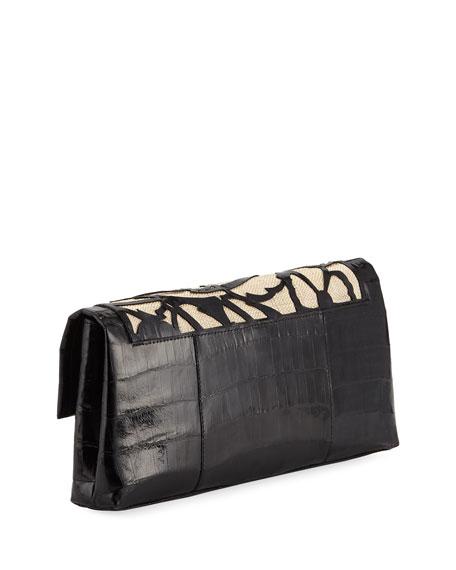 Floral Gotham Crocodile Clutch Bag