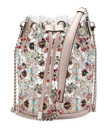 Christian Louboutin Marie Jane Crystal-Beaded PVC Bucket Bag