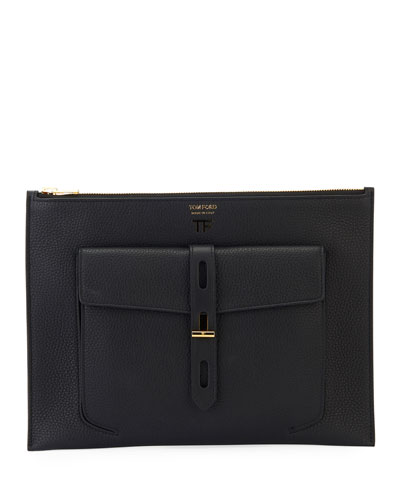 Rialto Flat Leather Pouch Bag