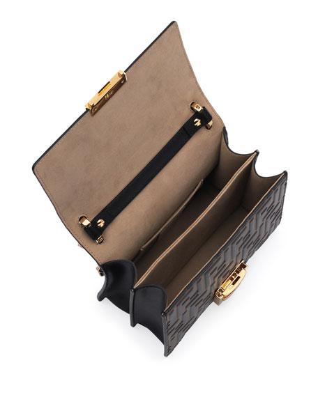 Kan U FF-Embossed Two-Tone Crossbody Bag