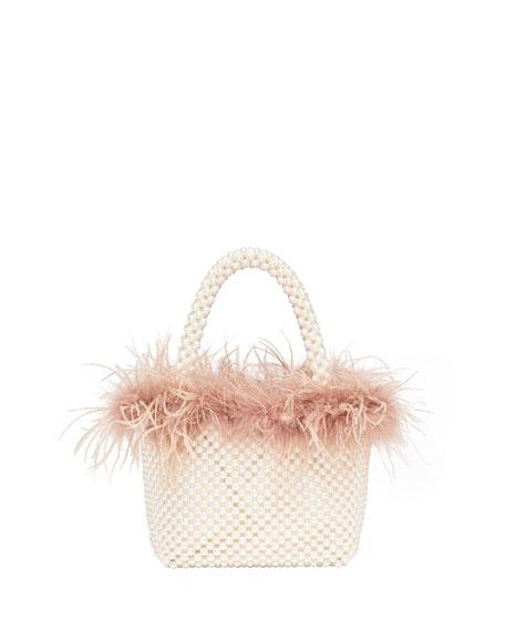 Mina Mini Beaded Tote Bag with Feather Trim