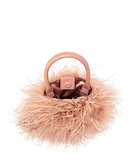 Zadie Ostrich Feather Top Handle Bag