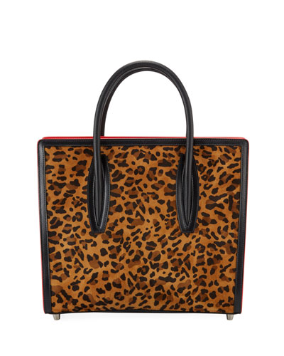 Paloma Leopard Suede & Canvas Tote Bag