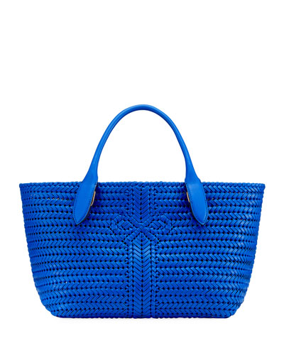The Neeson Woven Tote Bag  Blue
