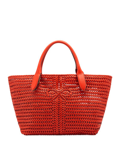 The Neeson Woven Tote Bag  Red