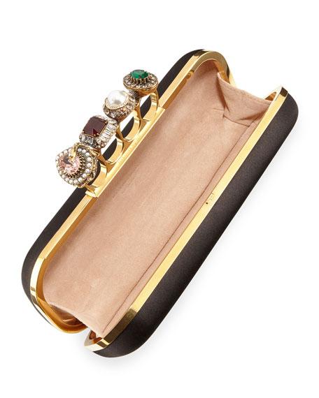 Jeweled Four Ring Silk Clutch Bag
