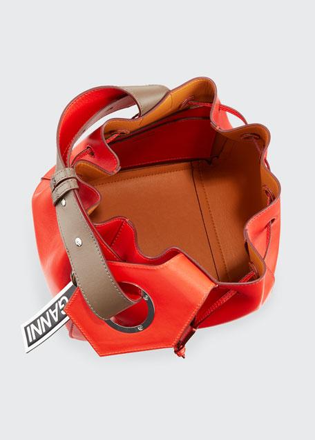 Leather Mini Cinch Bucket Bag