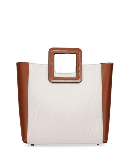 Shirley XL Canvas and Calf Leather Tote Bag