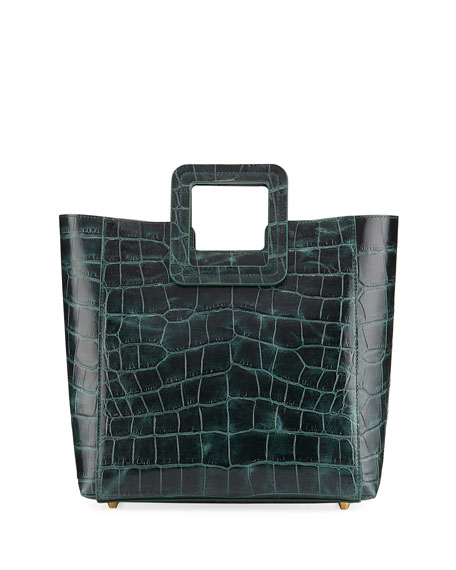 Shirley Crocodile-Embossed Tote Bag