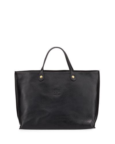 East-West Leather Tote Bag  Black