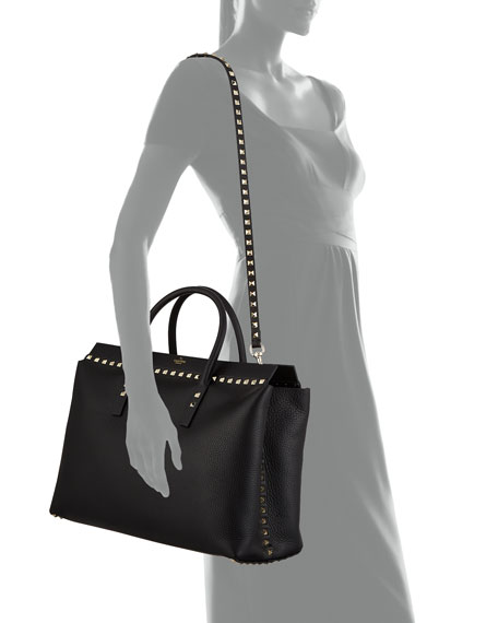 Rockstud Medium Top-Handle Tote Bag