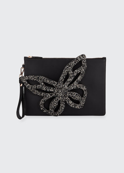 Flossy Crystal Butterfly Wristlet Bag