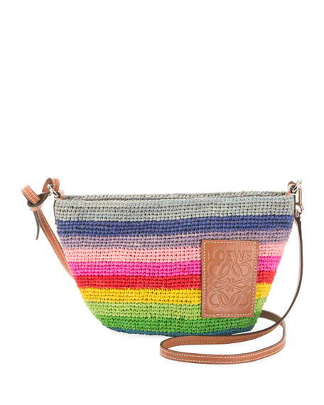 x Paula's Ibiza Rainbow Raffia Clutch Bag