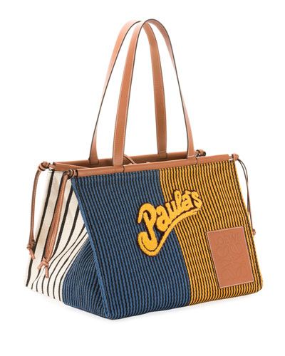 x Paula's Ibiza Stripes Cushion Tote Bag  Blue/Yellow