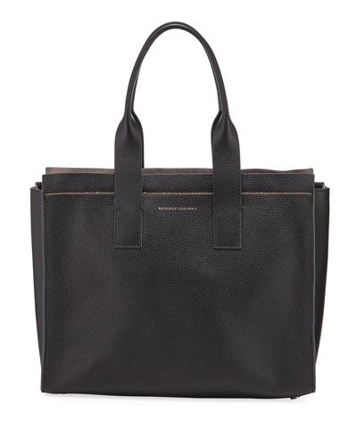 Leather City Tote Bag with Monili Trim