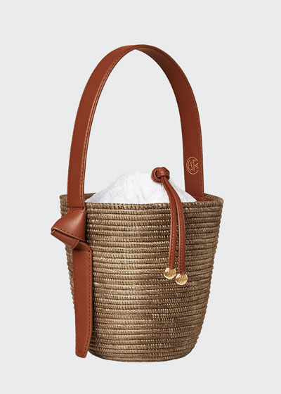 Woven Lunchpail Drawstring Bucket Bag