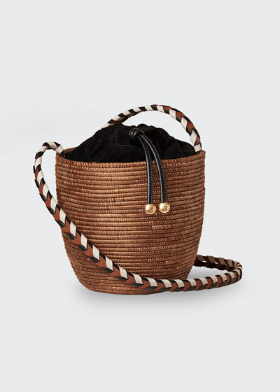 Woven Lunchpail Crossbody Bucket Bag