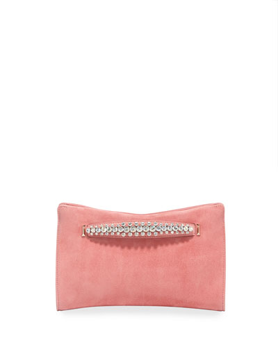 Venus Crystal-Handle Suede Clutch Bag  Pink