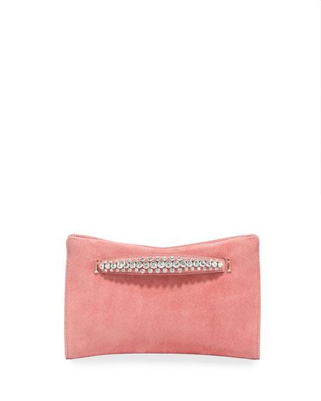 Jimmy Choo Venus Crystal-Handle Suede Clutch Bag, Pink