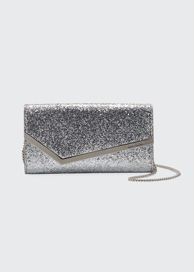 Emmie Glittered Leather Clutch Bag