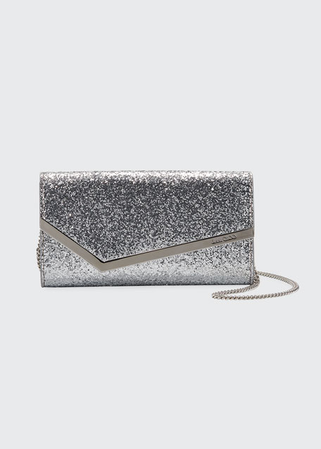 Jimmy Choo Emmie Glittered Leather Clutch Bag