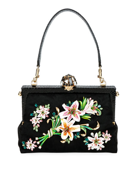 Floral Clasp Shoulder Bag