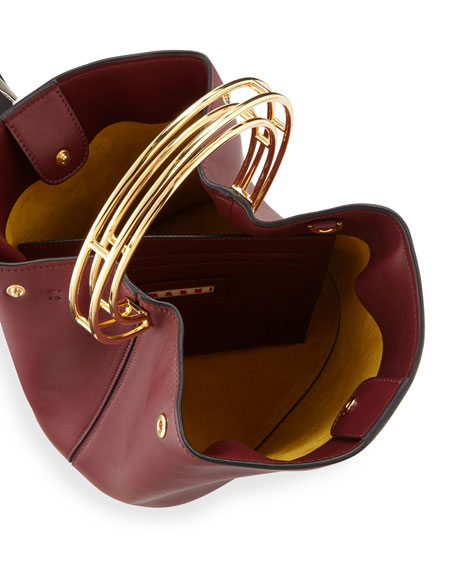 Pannier Ring-Handle Leather Bucket Bag
