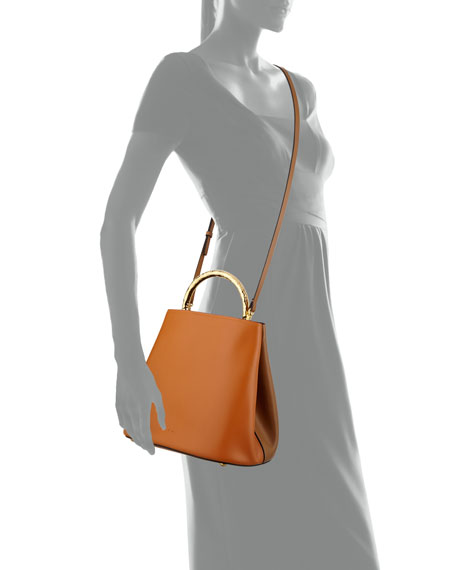 Pannier Two-Tone Leather Bucket Bag