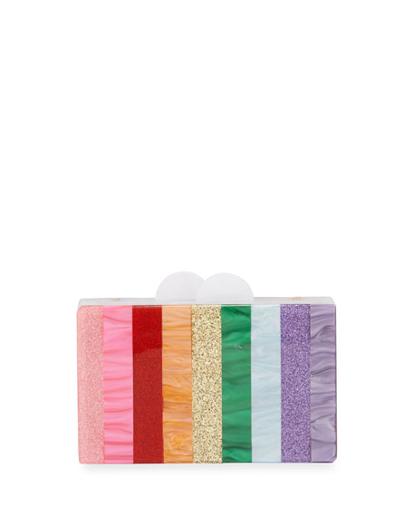 Bari Lynn Girls' Rainbow Stripe Box Clutch Bag