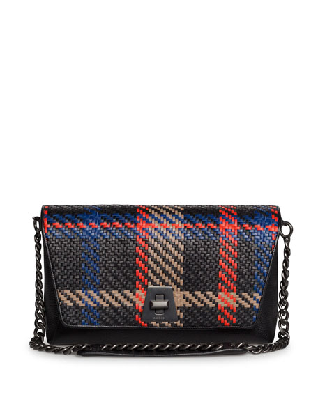Anouk Braided Leather Clutch Bag w/ Chain