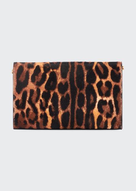 Monogram YSL Leopard-Print Wallet On Chain