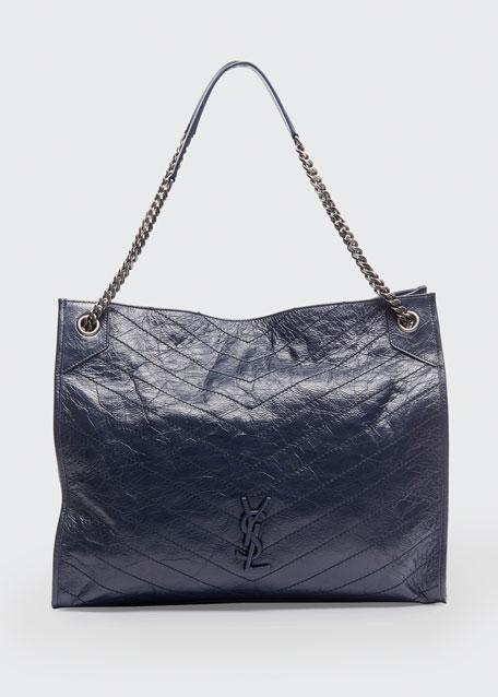 Saint Laurent Niki Crinkled Calf Tote Bag