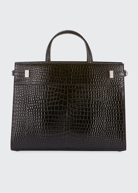 Manhattan Medium Crocodile-Embossed Tote Bag