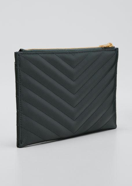 325c5bb1436 Saint Laurent Monogram YSL Matte Quilted Bill Pouch Wallet