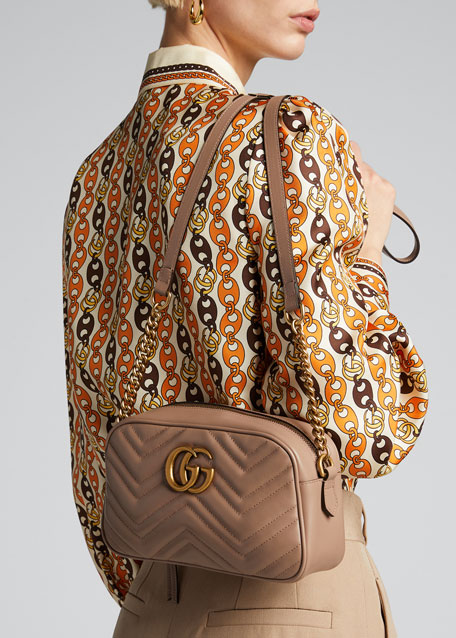 GUCCI GG Marmont Small Shoulder Bag - Nude | Unineed