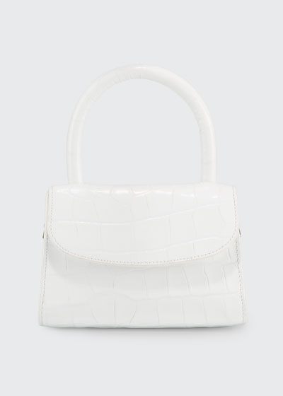 Crocodile-Embossed Mini Top Handle Bag