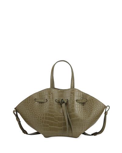 Lynne Crocodile-Embossed Tote Bag  Olive
