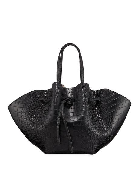 Lynne Embossed Crocodile Tote Bag