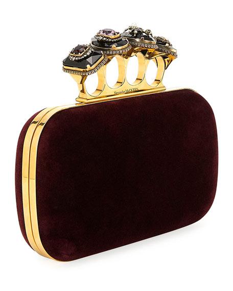 Jeweled Four-Ring Velvet Clutch Bag