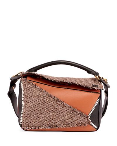 Puzzle Tweed Satchel Bag