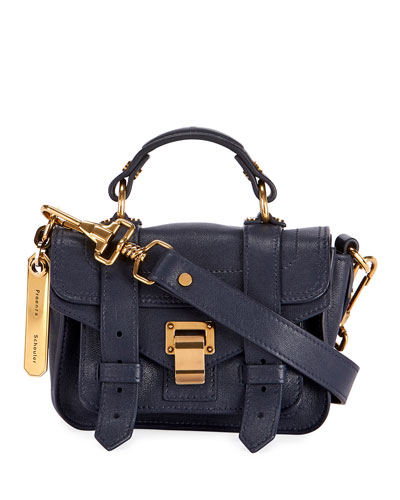PS1 Micro Lux Leather Crossbody Bag  Navy