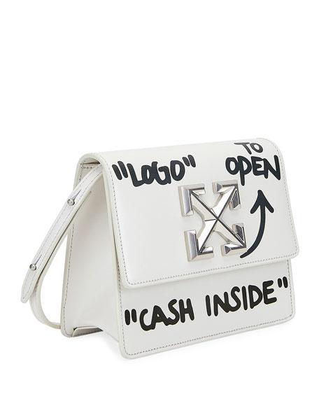 Jitney Cash Inside Crossbody Bag, White/Black
