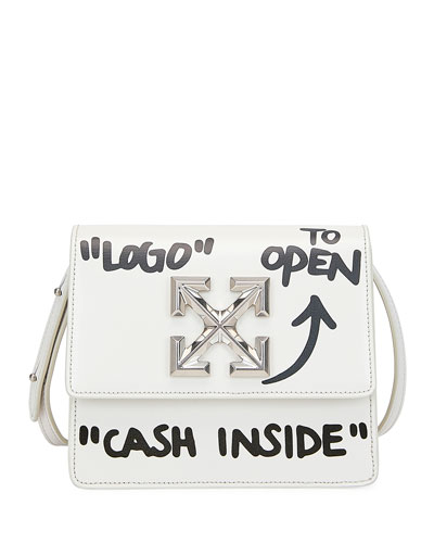 Jitney Cash Inside Crossbody Bag  White/Black